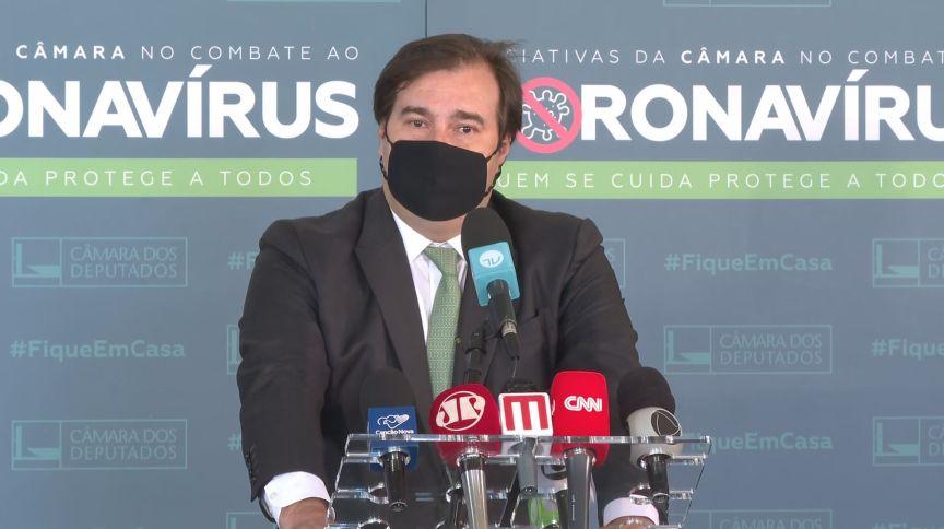 Rodrigo Maia (DEM-RJ), presidente da Câmara dos Deputados, fala à imprensa