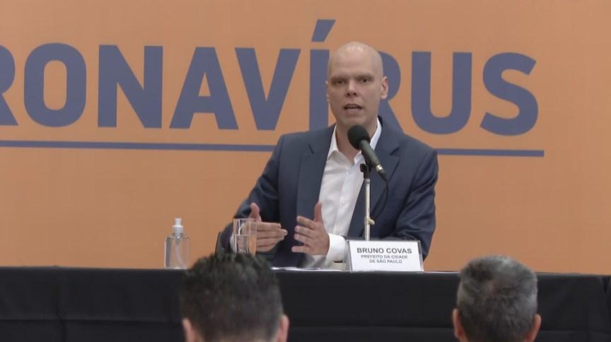 O prefeito de São Paulo, Bruno Covas, em coletiva de imprensa sobre coronavírus