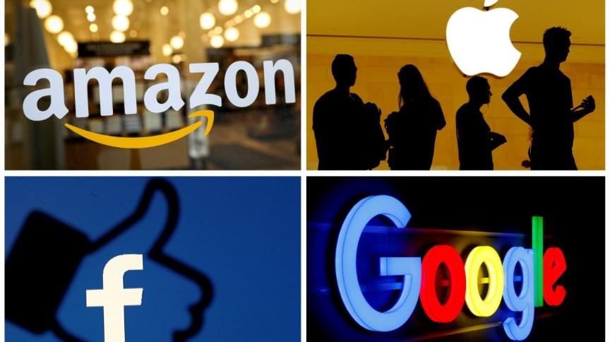 Logotipos da Amazon, Apple, Facebook e Google
