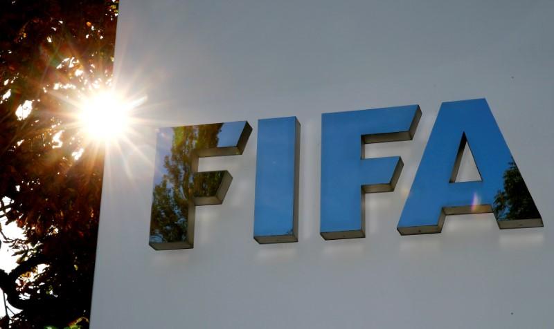Logo da FIFA em Zurique, na Suíça