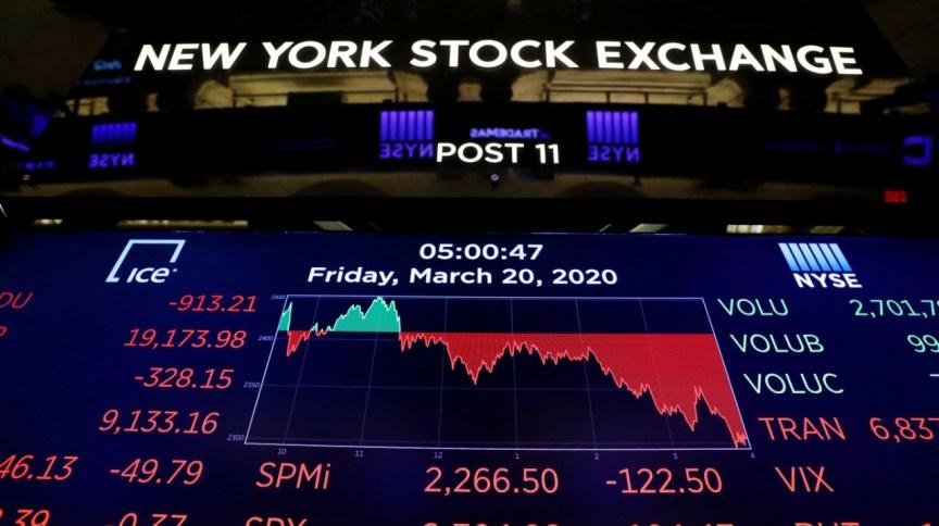 Telão mostra números da Bolsa de Nova York no dia 20 de março (20.mar.2020)