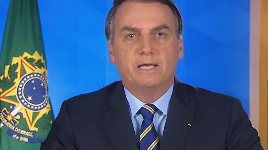 O presidente Jair Bolsonaro em pronunciamento nacional