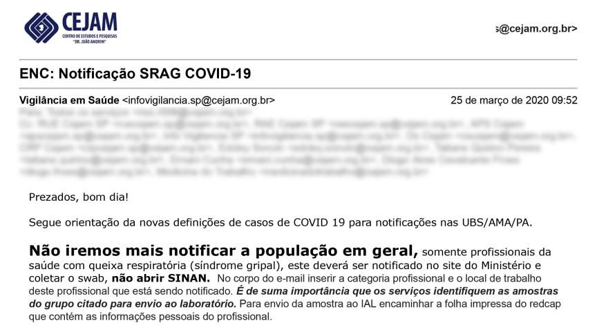 E-mail mostra ordem para subnotificação em postos de saúde de São Paulo