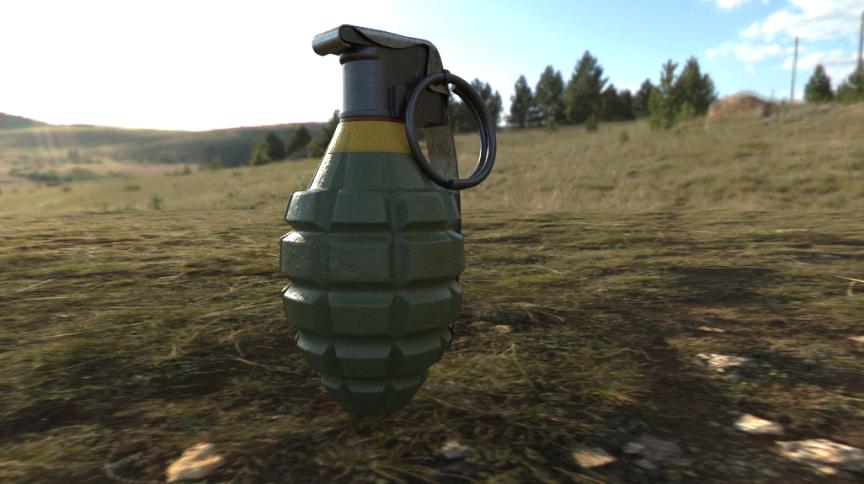 Ilustração em 3D de uma granada MK2