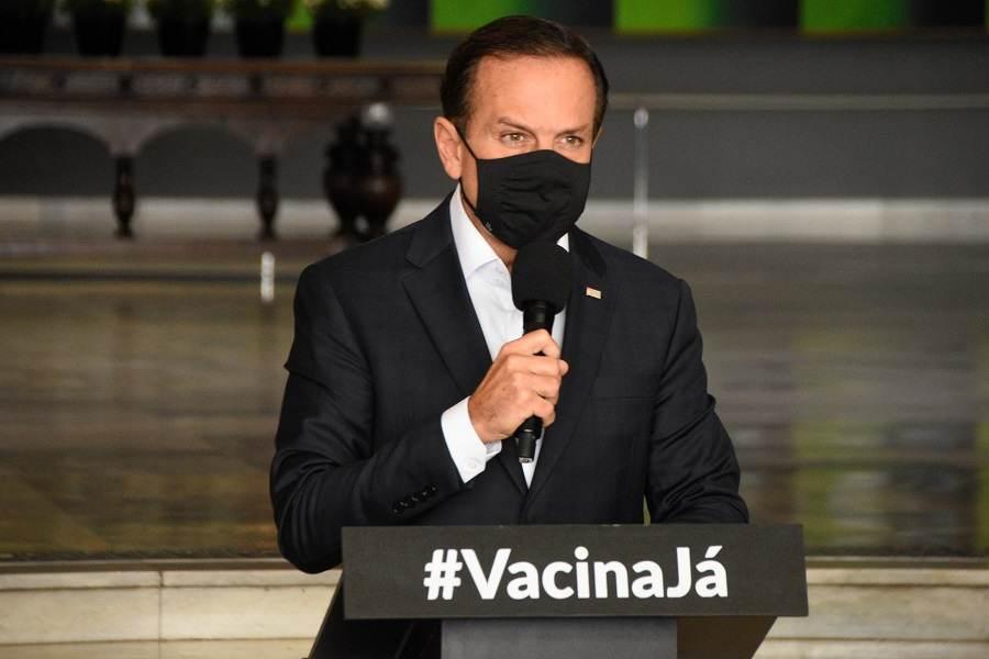 O governador de São Paulo, João Doria, durante coletiva