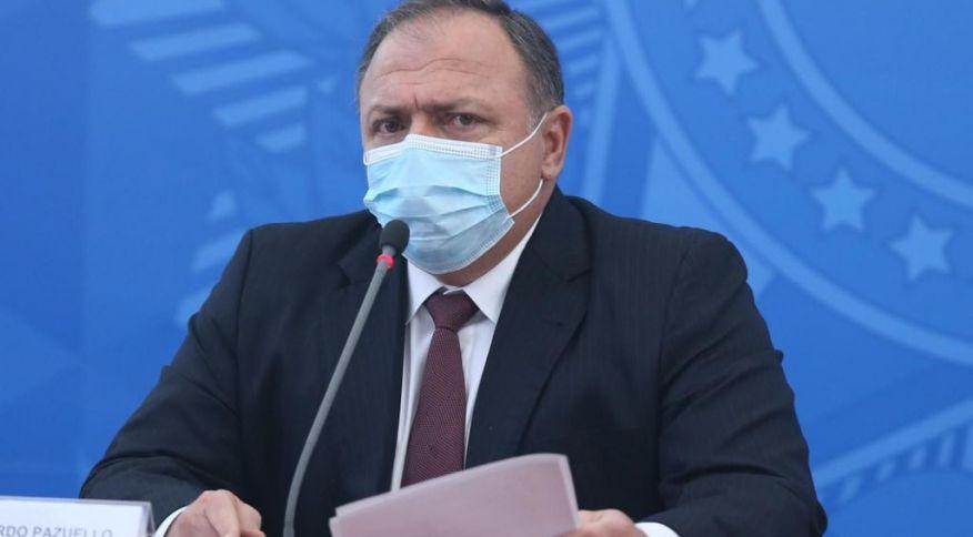 O ministro da Saúde, Eduardo Pazuello, durante entrevista coletiva