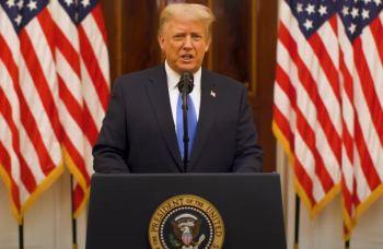 Presidente não cita o sucessor e faz discurso de 20 minutos exaltando seu governo e culpando China pela derrocada econômica dos Estados Unidos