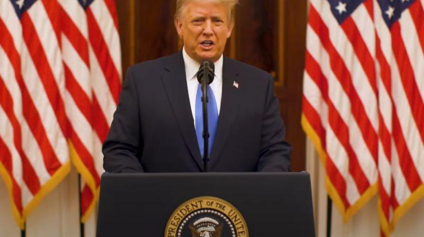 O presidente dos Estados Unidos, Donald Trump, em vídeo de despedida da Casa Branca