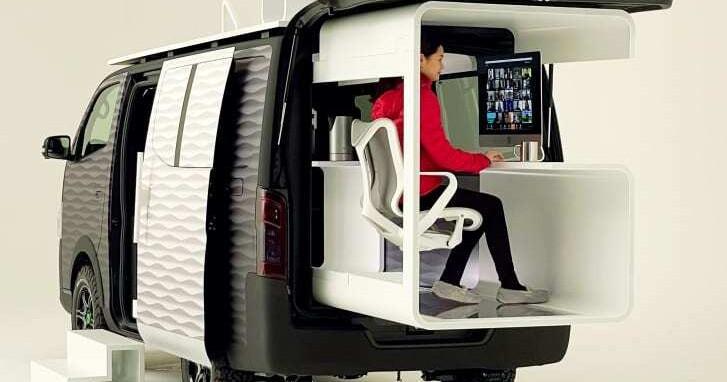 O office-pod, como está sendo chamado, é uma versão modificada do modelo NV350 Caravan