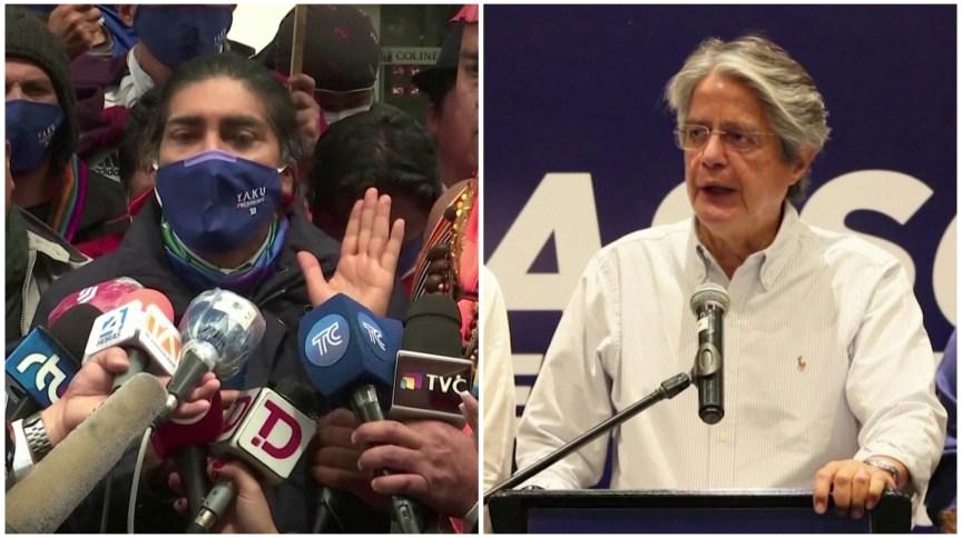 Yaku Pérez (E) e Guillermo Lasso disputam voto a voto vaga no 2º turno no Equador