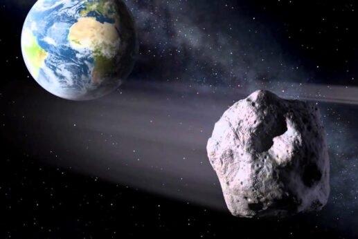 Ilustração da Nasa de asteroide passando perto da Terra