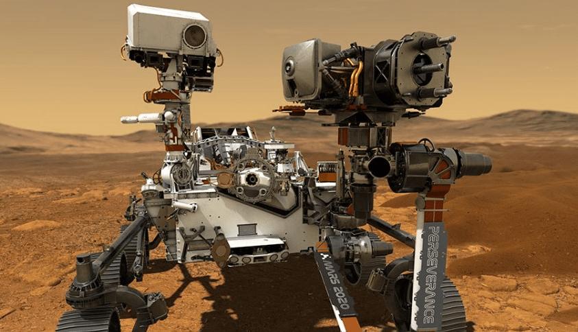 Imagem da Perseverance, sonda da Nasa que irá buscar vestígios de vida em Marte