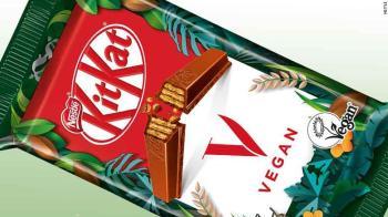 KitKat V dispensa o leite lácteo, que é usado em seus KitKats regulares, para uma alternativa à base de arroz, além de novo cacau sustentável