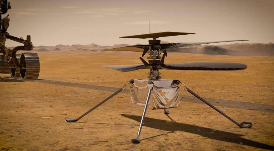 O helicóptero Ingenuity ('engenhosidade'), companheiro do rover Perseverance