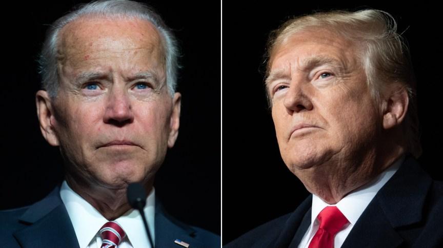 O democrata Joe Biden (à esq.) e o atual presidente dos EUA, Donald Trump (à dir.)