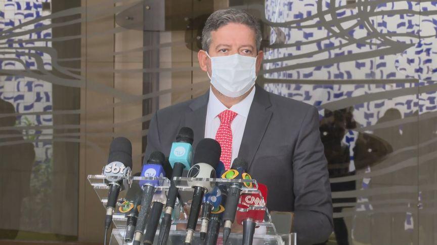 Presidente da Câmara dos Deputados, Arthur Lira (PP-AL) em pronunciamento à imprensa