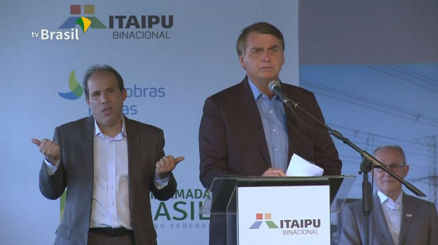 """O presidente Jair Bolsonaro durante visita à Itaipu: """"função social"""" da Petrobras desanimou investidores"""
