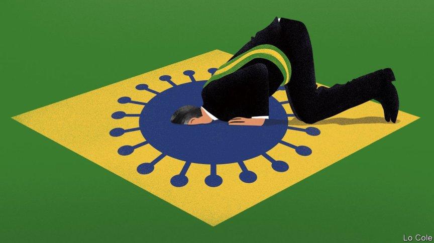 Imagem que ilustra artigo da The Economist mostra Bolsonaro afundando em bandeira do Brasil
