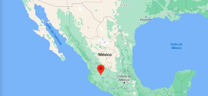 Localização da cidade de Tonala, no estado mexicano de Jalisco