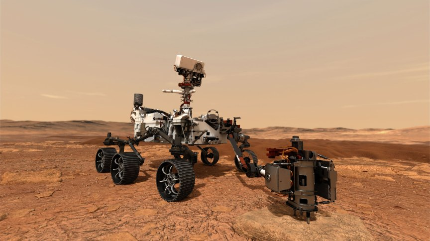 Ilustração do Perseverance perfurando rocha para coletar amostras de Marte