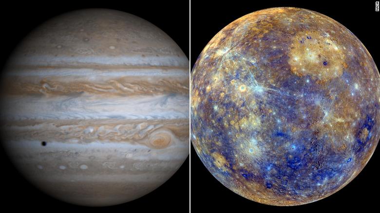 Os planetas Júpiter e Mercúrio, respectivamente o maior e o menor planeta do Sistema Solar