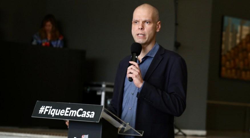 Prefeito de São Paulo, Bruno Covas (PSDB), durante coletiva de imprensa. São Paulo, 13 de abril de 2020.