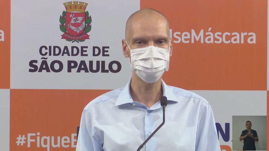 O prefeito de São Paulo, Bruno Covas, em evento sobre combate à pandemia de Covid-19 na capital paulista