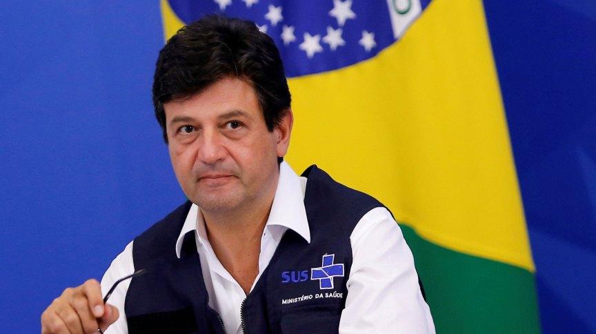 Luiz Henrique Mandetta em coletiva de imprensa durante seu período como ministro da Saúde