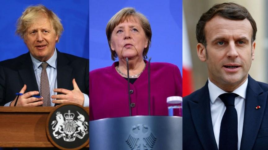 Boris Johnson, premiê do Reino Unido, Angela Merkel, chanceler da Alemanha, e Emmanuel Macron, presidente da França