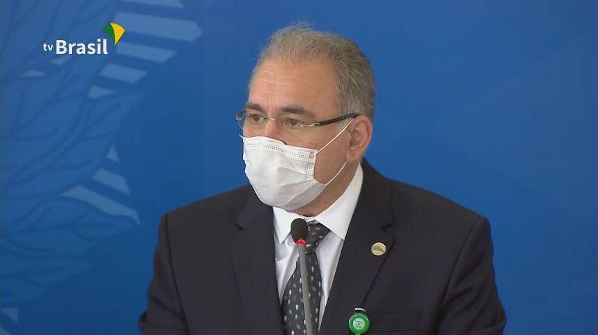 O ministro da Saúde, Marcelo Queiroga, participou de coletiva após reunião do comitê contra a Covid-19