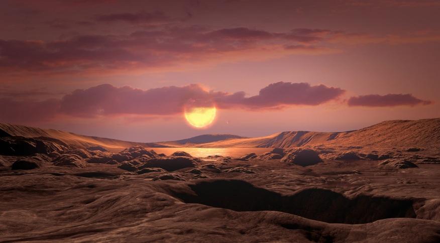 Concepção artística de como deve ser a superfície do planeta Kepler-1649c