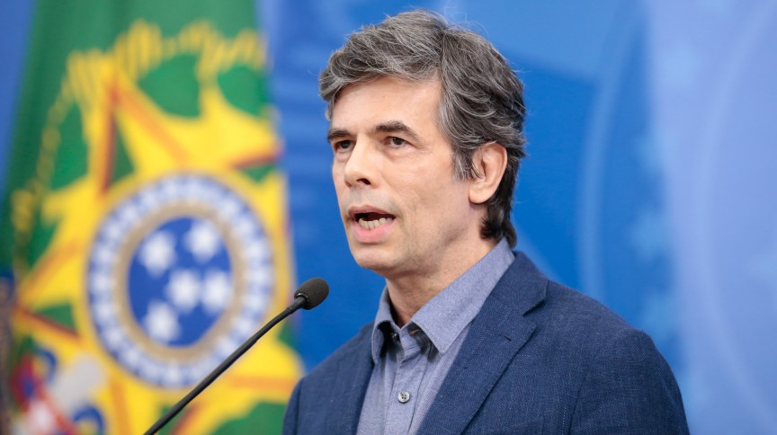 Novo ministro da Saúde, Nelson Teich, durante coletiva de Imprensa com o Presidente da República, Jair Bolsonaro. Brasília, 16 de abril de 2020.