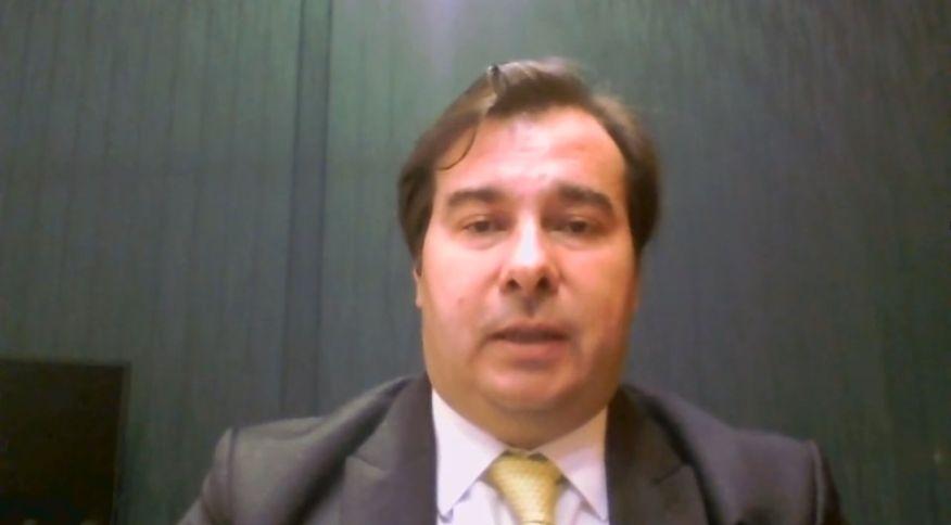 Presidente da Câmara dos Deputados, Rodrigo Maia em entrevista para a CNN