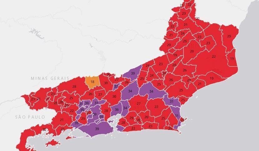Mapa de risco das cidades do Rio de Janeiro