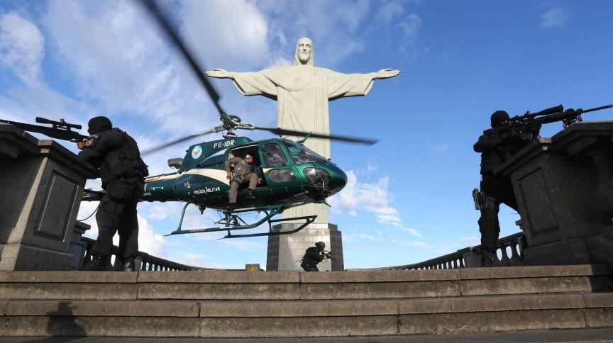 Helicóptero usado em operações da Polícia Militar do Rio de Janeiro