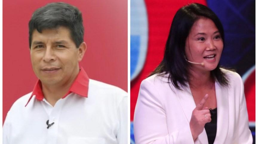 À esquerda o candidato de esquerda Pedro Castillo; à direita a conservadora Keiko Fujimori, filha do ex-presidente e ditador preso Alberto Fujimori