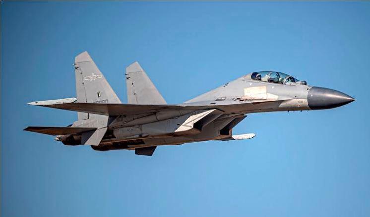 Um caça a jato J-16 chinês é visto nesta imagem