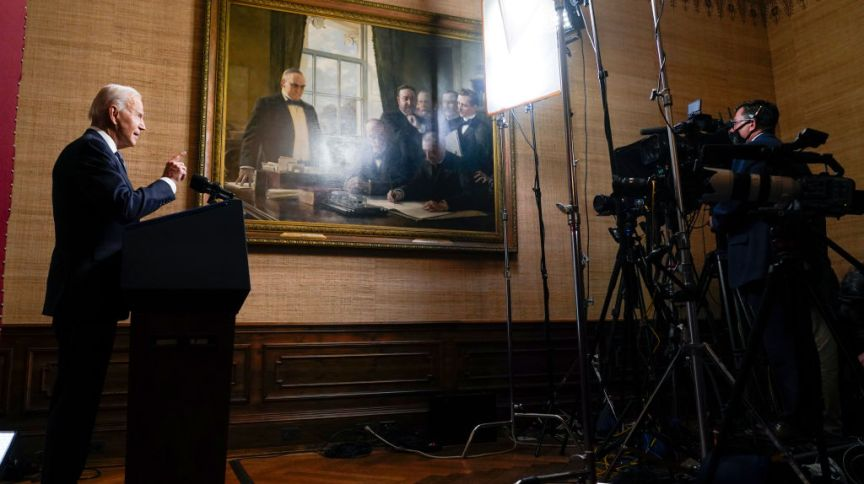 Joe Biden discursa e anuncia retirada de tropas americanas do Afeganistão até 11 de setembro (14.abr.2021)
