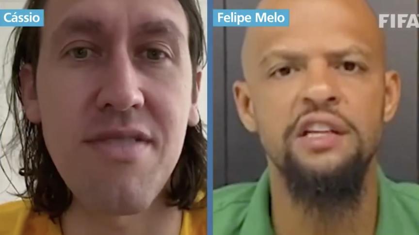 Goleiro Cássio e zagueiro Felipe Melo gravam vídeo juntos estimulando a população, que está em casa de quarentena, não deixe a preparação física de lado