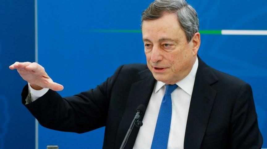 Primeiro-ministro italiano, Marlo Draghi, durante entrevista coletiva em Roma
