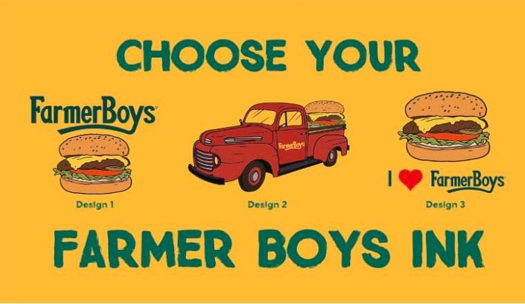 Farmer Boys oferece hamburgueres de graça por um ano para quem tatuar o nome do restaurante