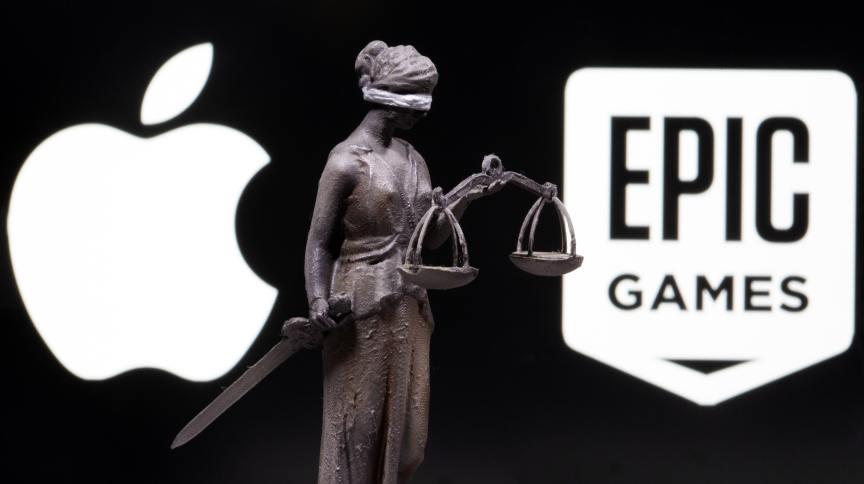 Logotipos da Apple e da Epic Games