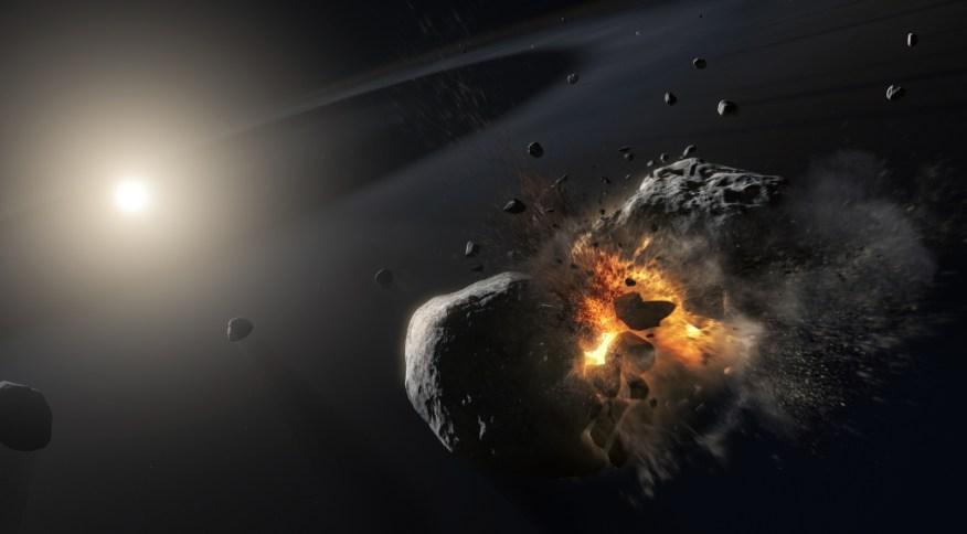Concepção artística de como deve ter sido a colisão de dois objetos frios com mais de 200 km na órbita da estrela Fomalhaut