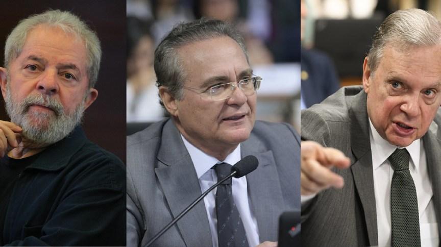 Ex-presidente Lula e os senadores Renan Calheiros e Tasso Jereissati
