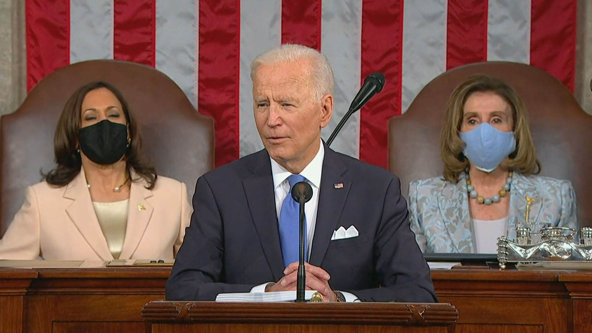 O presidente dos Estados Unidos, Joe Biden, discursa (28.abr.2021)