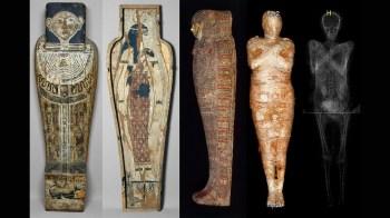 Pesquisadores encontraram pequeno pé no abdômen da múmia ao analisarem tomografia de corpo que, originalmente, acreditavam ser de um sacerdote