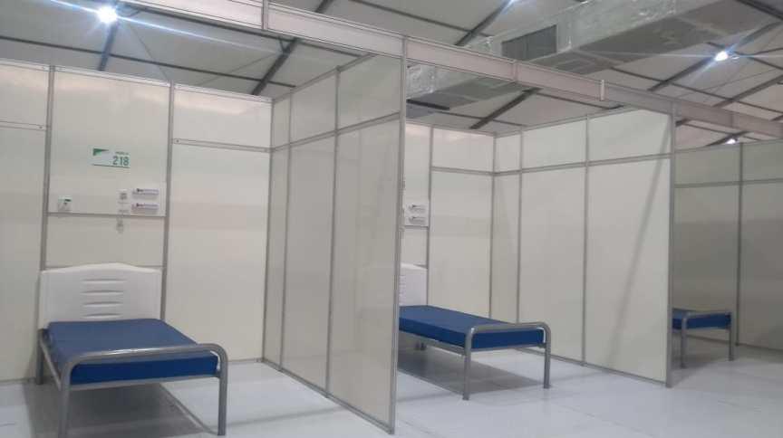 Leitos de Hospital de Campanha no Ibirapuera, que deve ser inaugurado no próximo dia 1° de maio; São Paulo é o estado com maior número de casos confirmados da COVID-19 no Brasil, com 15.914 infectados (23.abr.2020)