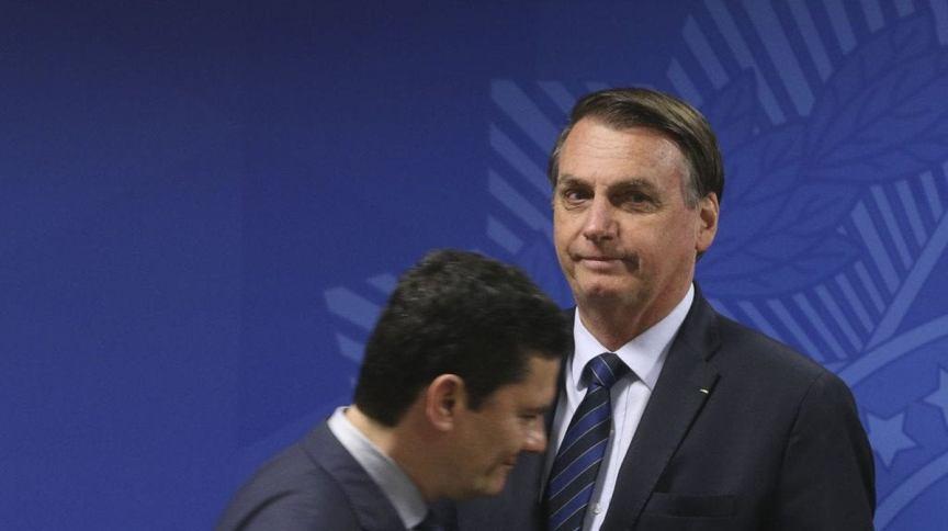 O presidente Jair Bolsonaro e o agora ex-ministro da Justiça Sergio Moro