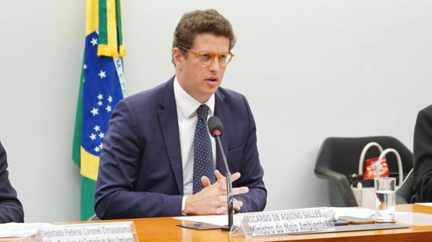 O ministro do Meio Ambiente, Ricardo Salles, durante reunião das Comissões de Meio Ambiente e Desenvolvimento Sustentável e de Viação e Transportes, na Câmara dos Deputados