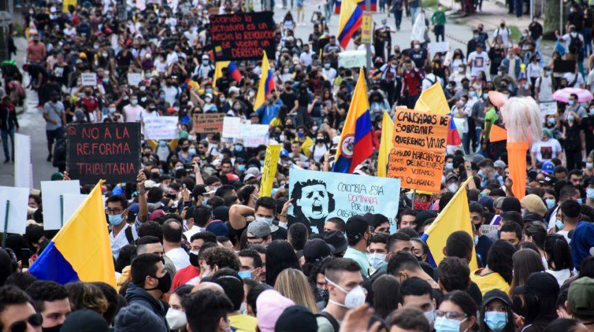 Manifestações na cidade de Armênia, Colômbia, em 28/04/2021